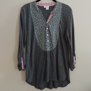 Meadow Rue Anthropologie Shirt Floral Gray Size M
